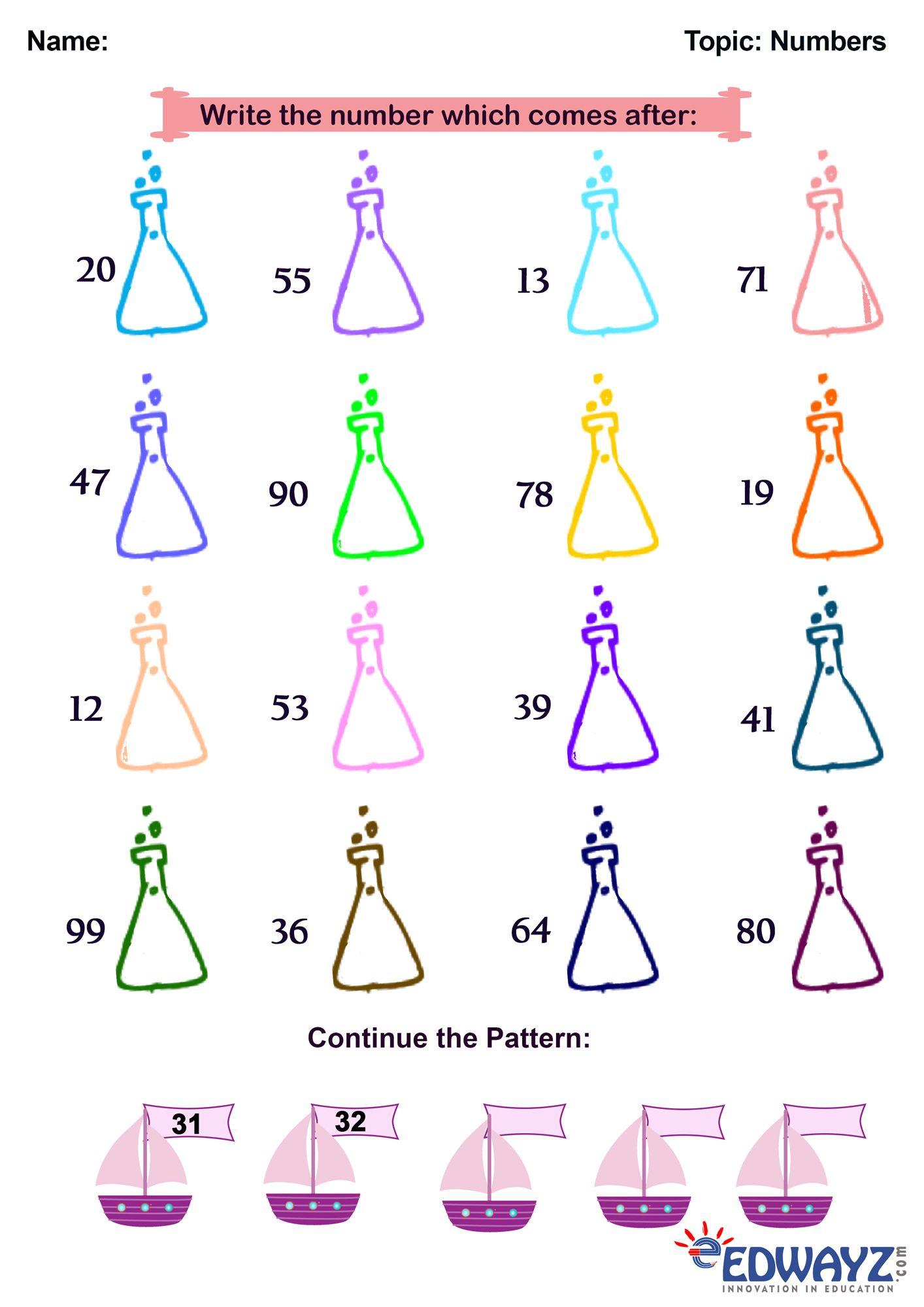 Edwayz Freeworksheets Math Class1 Numbers Whatcomesafter Pattern Class 1 Maths Math Worksheet Math [ 2000 x 1414 Pixel ]