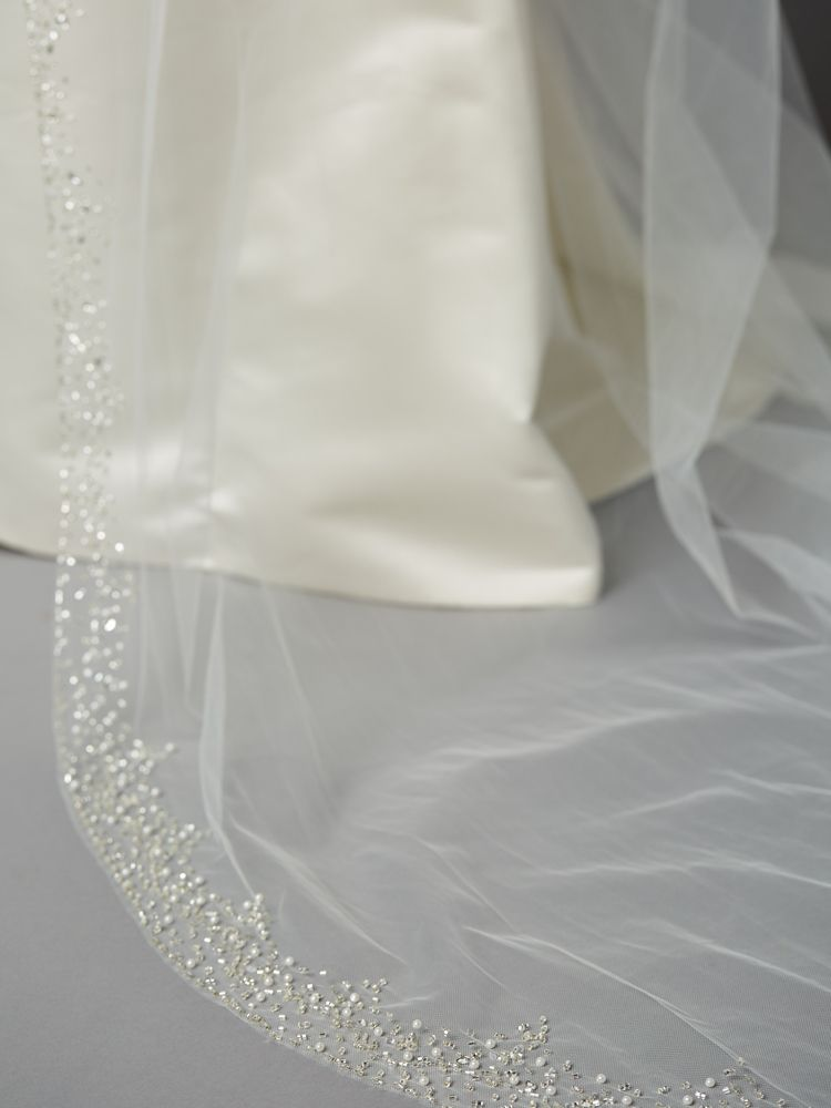 Breathtaking Crystal And Pearl Cathedral Wedding Veil Ivory Bridal Veil Wedding Veils Cathedral Wedding Veils