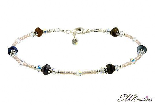 Anklets Multi Color Crystal Beaded Anklet Adjustable From 9 To 10in Handmade Attractive Designs;