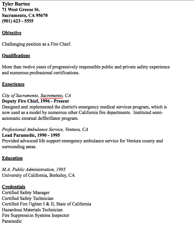 Example Of Fire Chief Resume  HttpResumesdesignComExampleOf