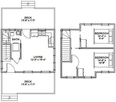 20x16 Tiny House 630 Sq Ft Pdf Floor Plan Model 18 House Plans Tiny House Plan Solar House Plans