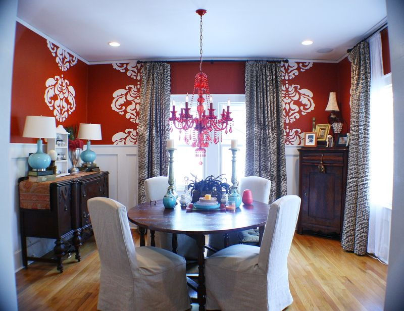 Red, White, Dark Brown And Black Dining Room With Big, Fun Stencils And