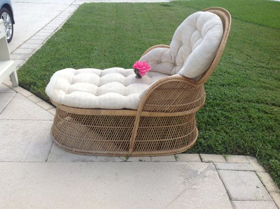 vintage buri wicker rattan chaise lounge peacock chair on sale palm beach cottage style at retro daisy girl