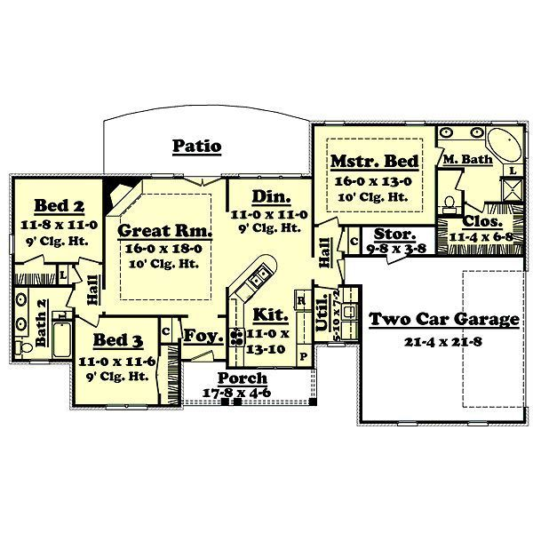 1600 Heated Sq Ft House Plans Open Floor Plan Floor 1600 Square Feet Open Floor Plans Country Style House Plans New House Plans Ranch Style House Plans