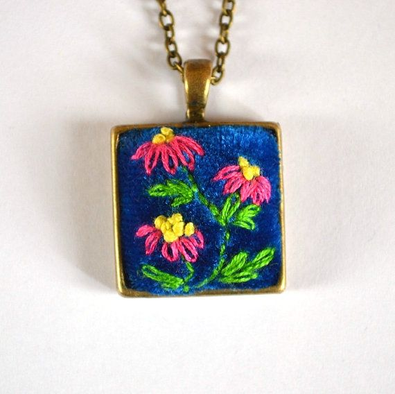 pendants necklaces embroidered floral pendants  jewelry gift idea for her Handmade Jewelry