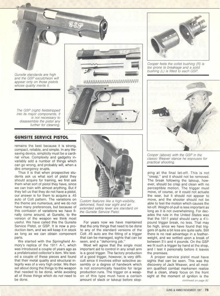 Jeff Cooper's GSP Gunsite Service Pistol 1911 | Gunsmith