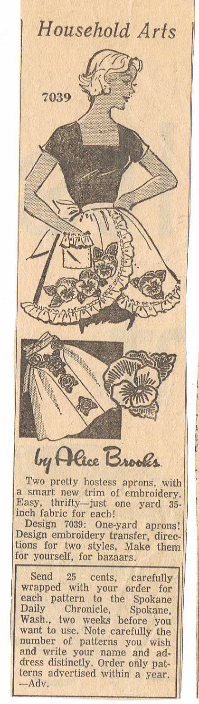 Alice Brooks 7039 coupe originale avec les pans croisés