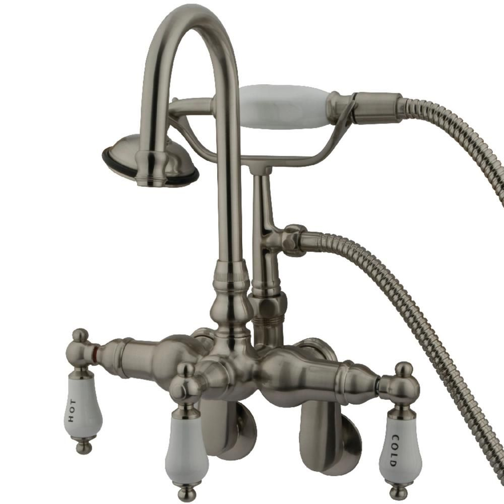 Kingston Brass Traditional Adjustable Center 3 Handle Claw Foot Tub Faucet With Handshower In Brushed Nickel Hcc303t8 Clawfoot Tub Faucet Tub Faucet Wall Mount Tub Faucet