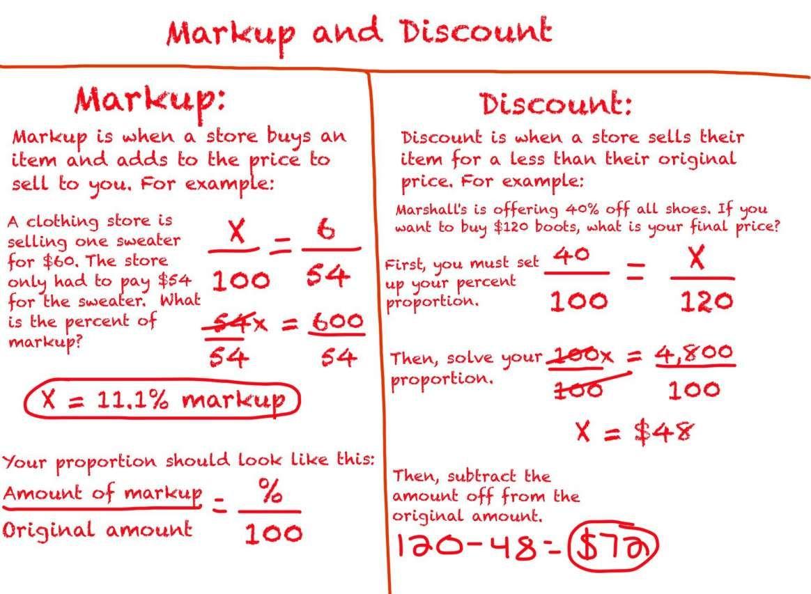 10 6th Grade Discounts Math Worksheet