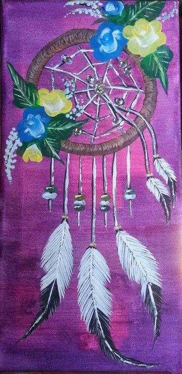 Dream Catcher Acrylic Paint On Canvas Dream Catcher Painting Boho Art Painting Canvas Painting