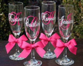 decorate champagne glasses. 10 Monogrammed Bride and Bridesmaids Champagne Flutes  Personalized Wedding Glasses on Etsy 7 Custom Order for Bridal Party by MakeItPersonalGifts