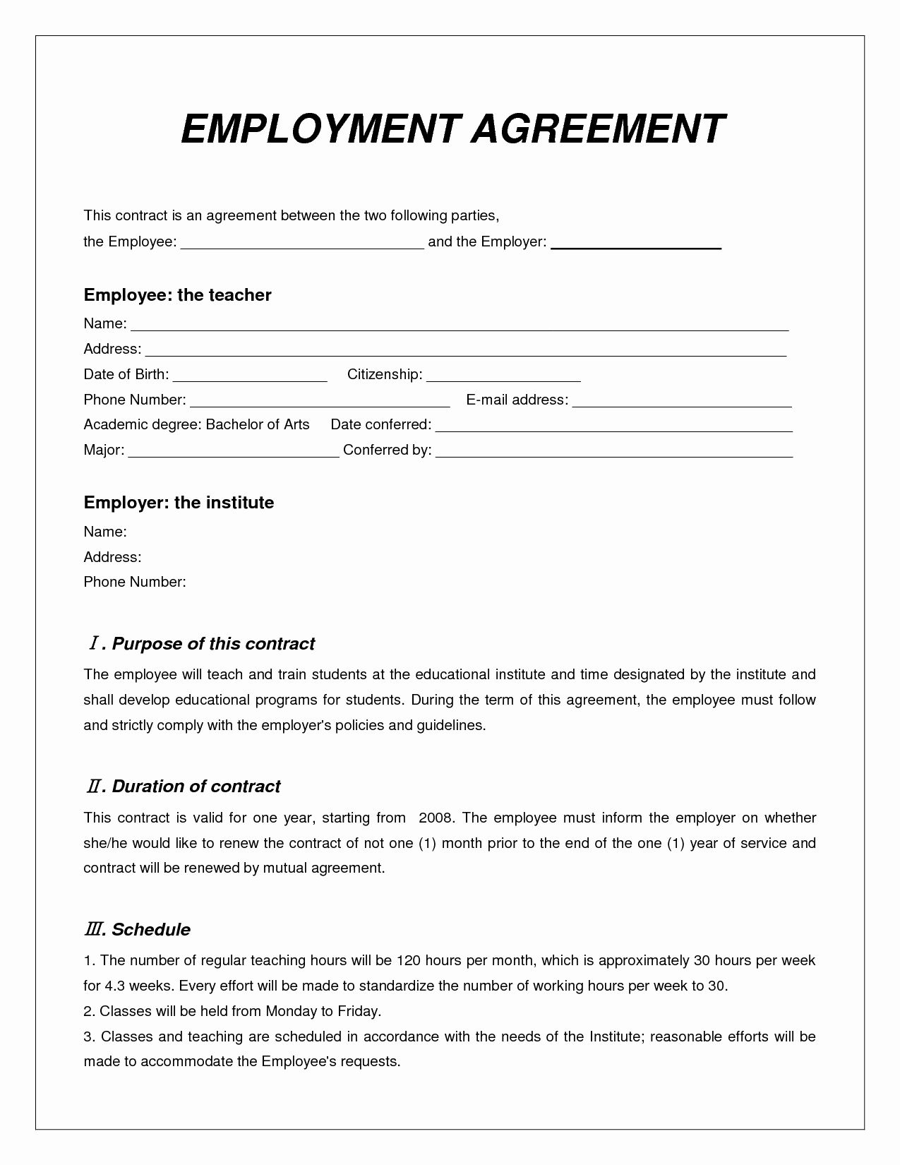 Simple Employment Contract Template Free In 2020 Contract Template