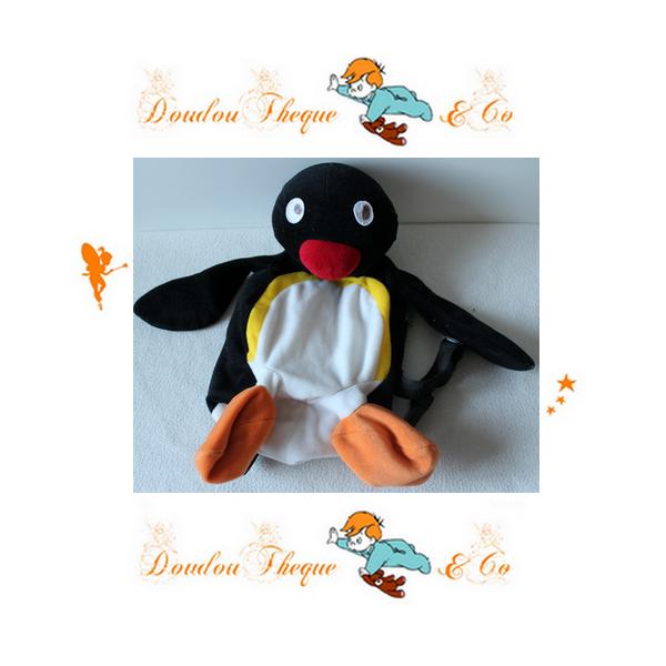 Peluche Sac à Dos Pingu The Pygos Group 2002 Pingouin Noir