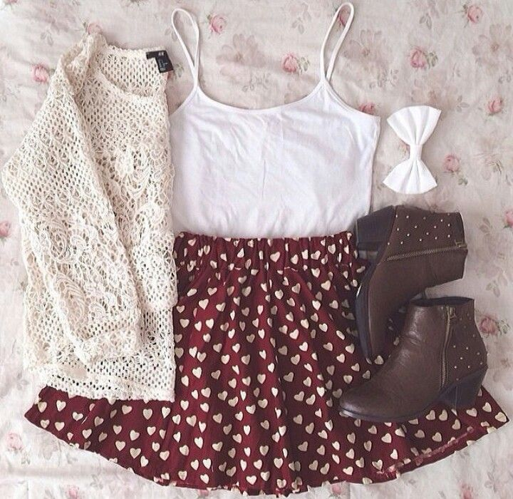The Hearts skater skirt and the crochet sweater goes perfect with the brown booties!! I need this outfit!