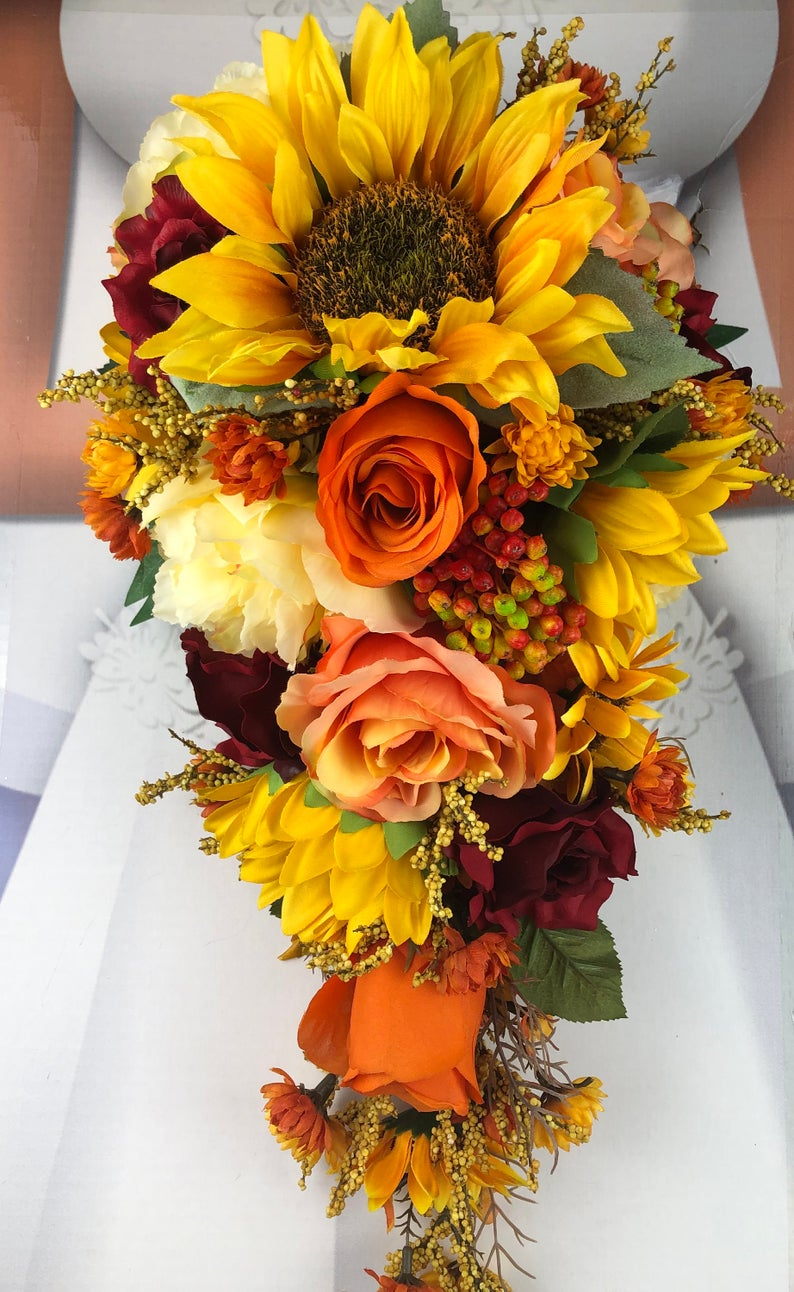 Red Fall in Love Sunflower Bridal Bouquet Set, Fall
