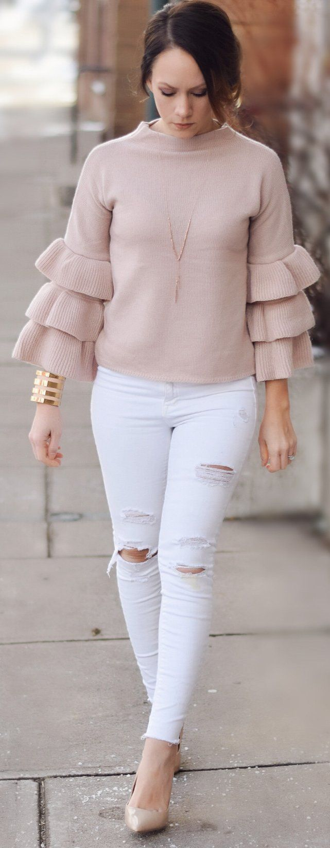 #spring #fashion /  Light Brown Top / White Ripped Skinny Jeans / Nude Pumps