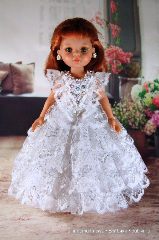 Paola Reina белое кружевное платье / Одежда для кукол / Шопик. Продать купить куклу / Бэйбики. Куклы фото. Одежда для кукол