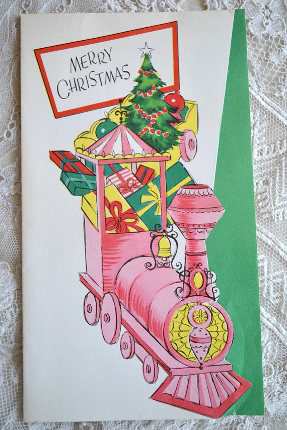 Vintage Christmas Card Mid Century Pink Merry Christmas