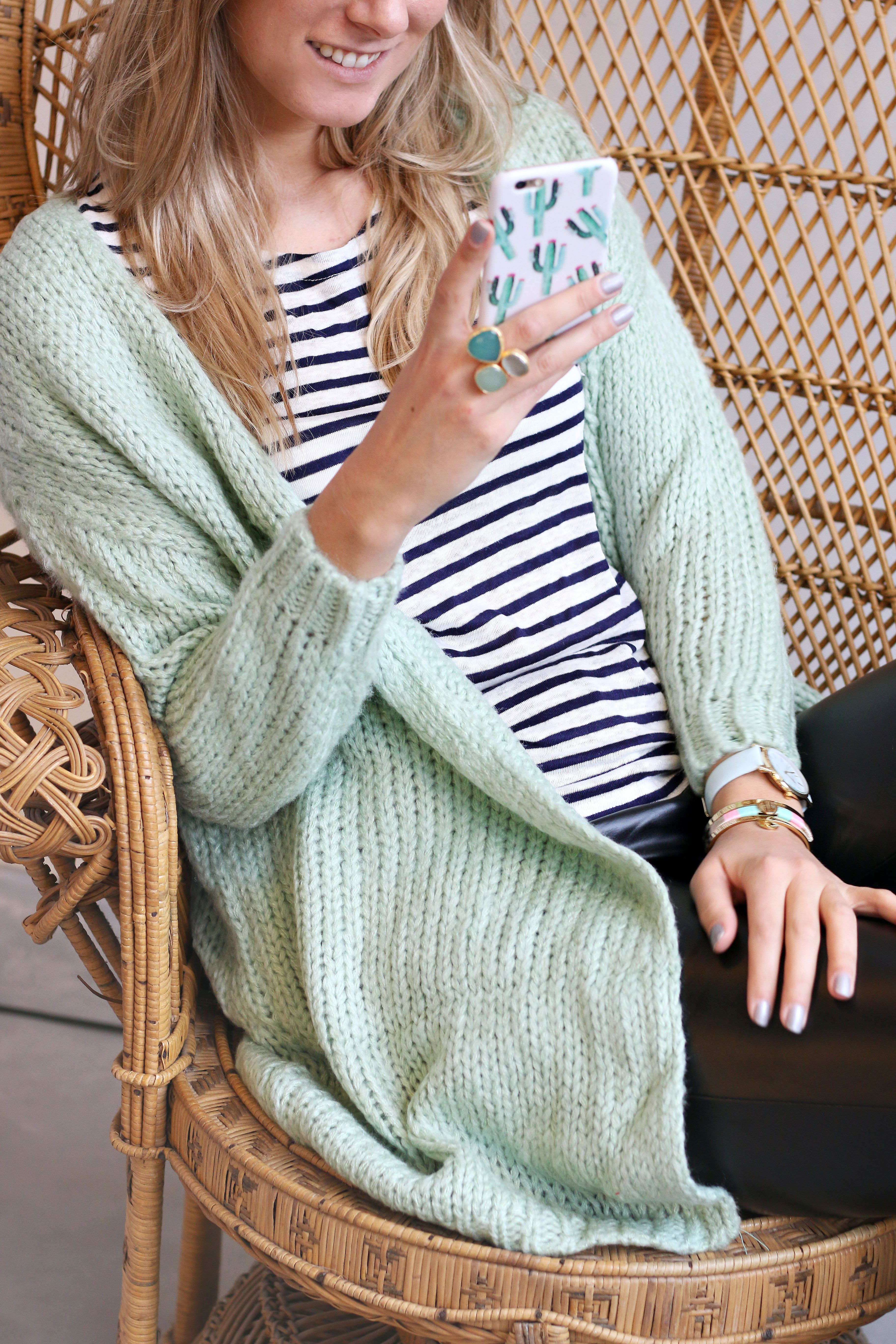 New knitted cardigan in mint green with striped blue tee t
