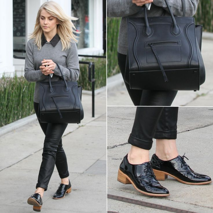 561069cb614 Julianne Hough s Gray Sweater and Black Oxfords Outfit