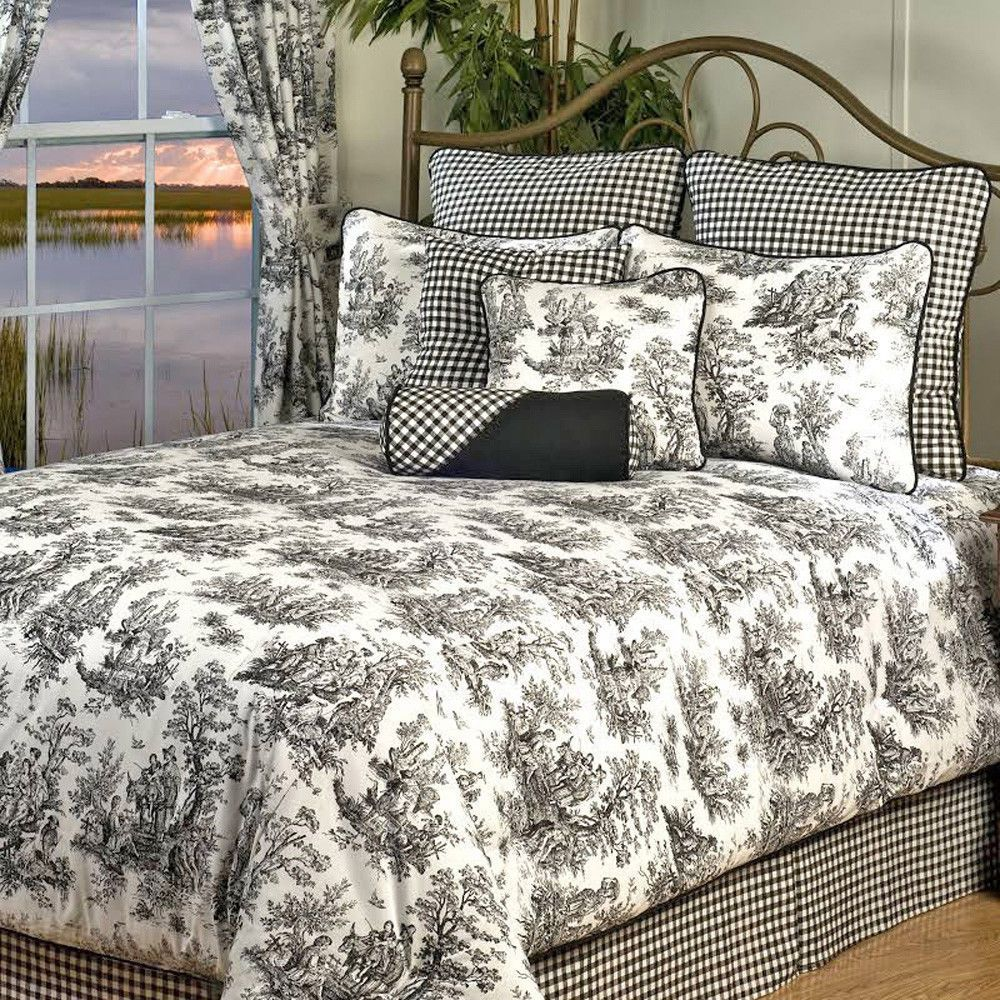 Traditional French Country Black White Toile Bedding