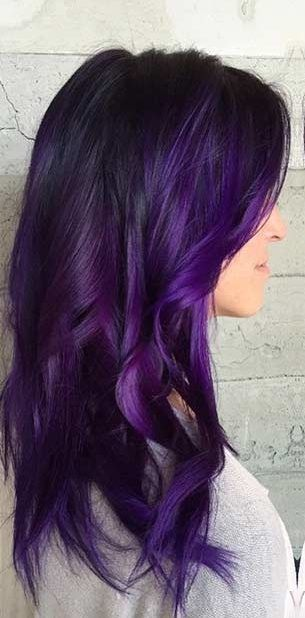 38 Shades Of Purple Hair Color Ideas You Will Love Purple Hair Color Ideas These 38 Shades Of Purple Hai Dark Purple Hair Hair Color Purple Bright Purple Hair