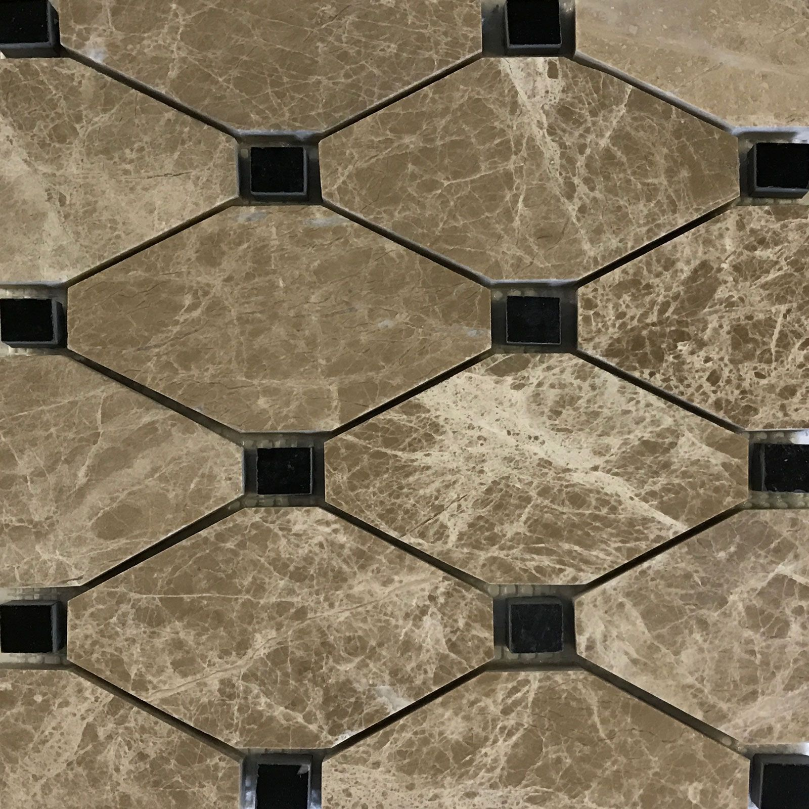 Boliche Mosaic Tile Emperador Light Black Marble Polished Beige
