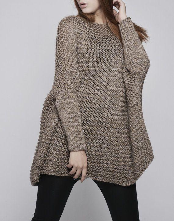 OVERSIZED Woman sweater/ Knit sweater in Mocha   Ajugas   Pinterest ...