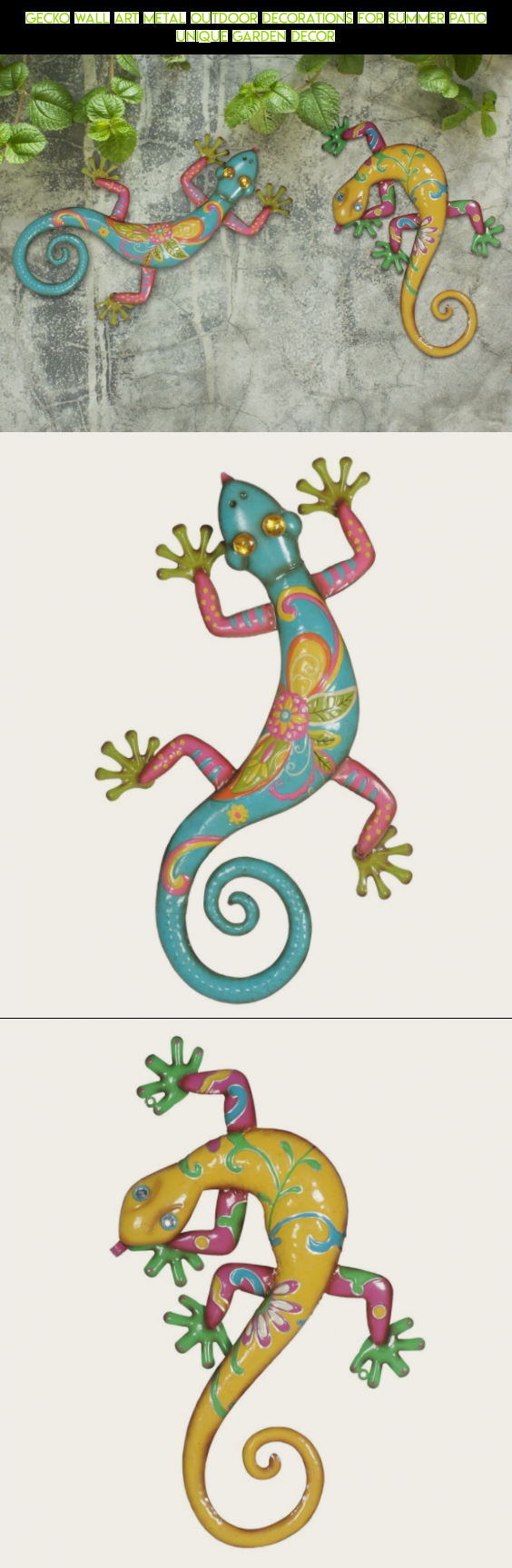 gecko wall art metal outdoor decorations for summer patio unique