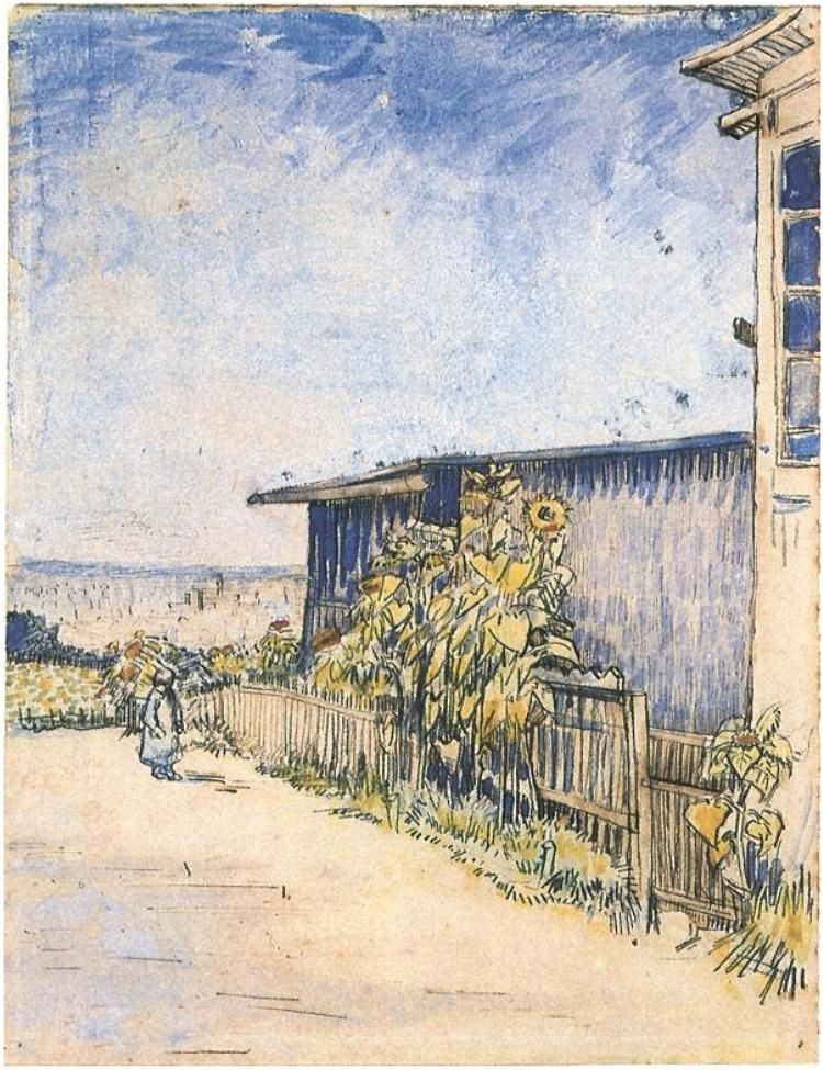 Shed With Sunflowers Vincent Van Gogh Watercolor Pencil Pen