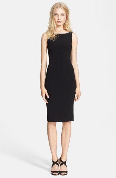 Alice Olivia Leather Trim Combo Sheath Dress Available At