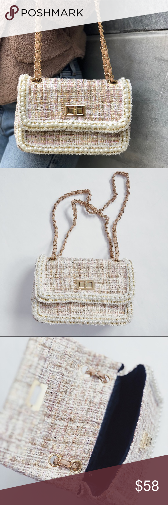 Fifi Blush Tweed Crossbody Bag The Handbag Features A Material