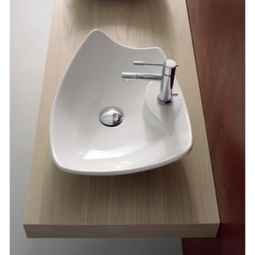 Bathroom Sink Rectangular White Ceramic Vessel Sink 8051/R Scarabeo 8051/R