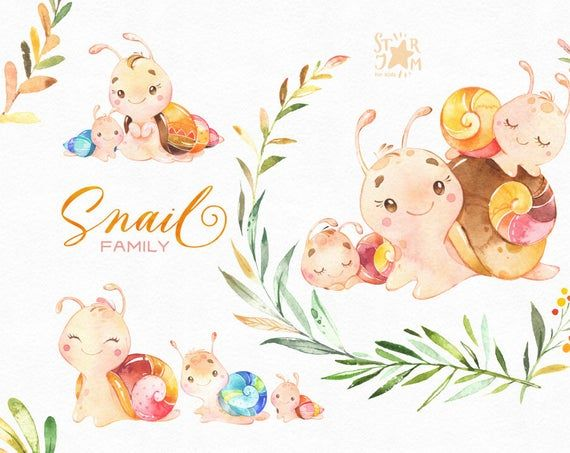 Snail Family Watercolor Little Animal Clipart Mother Etsy In 2021 Animal Clipart Clip Art Cute Illustration