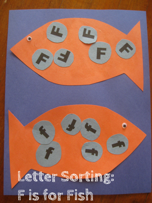 Letter sorting f is for fish alphabet activities for kids for Fish crafts for preschoolers
