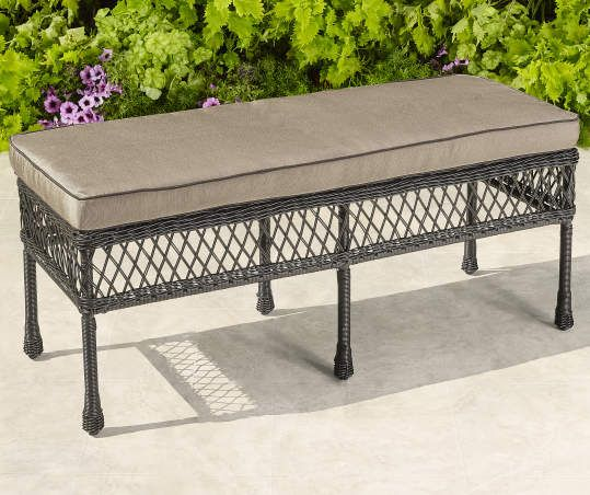 Pinehurst All Weather Wicker Bench With Cushion Diy Outdoor Furniture Patio Furniture For Sale Porch Furniture