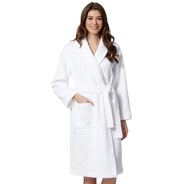 White cotton towelling dressing gown ($39) via Polyvore featuring ...
