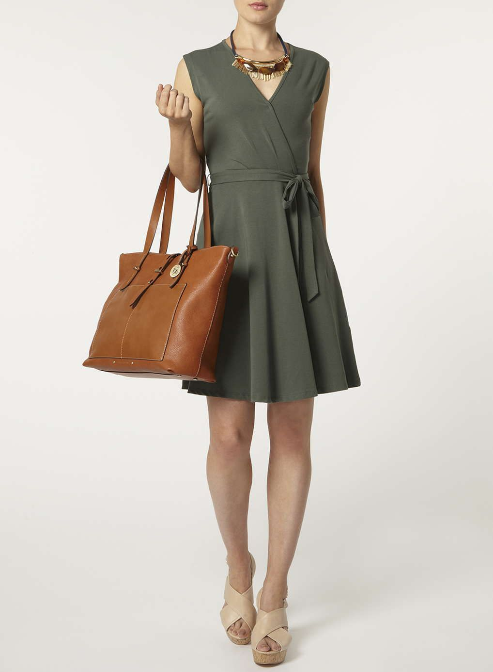 Khaki Wrap Tie Waist Dress - Dorothy Perkins