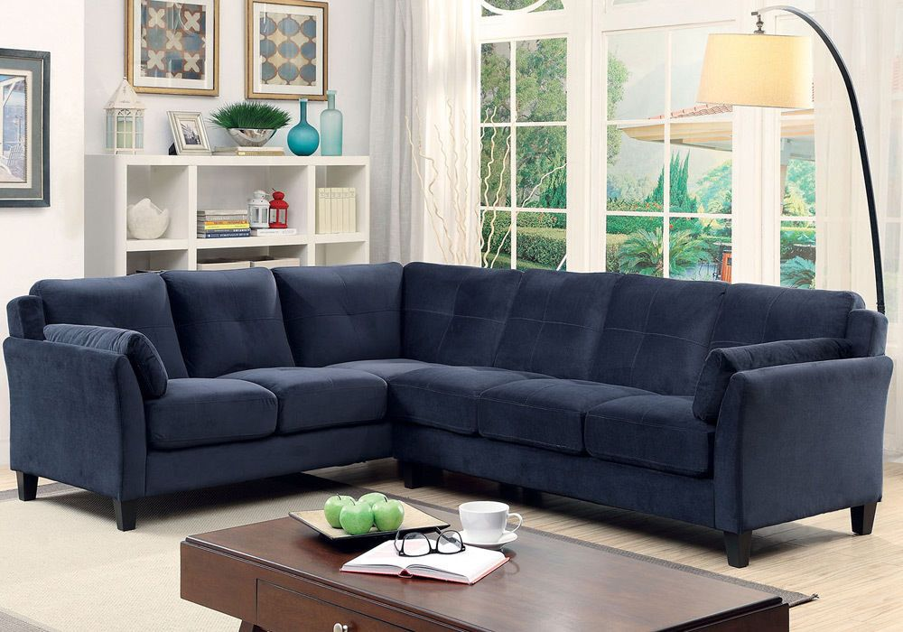 Peever Living Room Sectional Sofa L Shaped Tufted Cushion Navy Blue Flannelette 3perfectchoice Contemporary R S Living Room Blue Sectional Living Room S