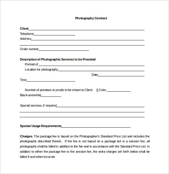 Portrait Photography Contract Word Template Free Download - resume for photographer
