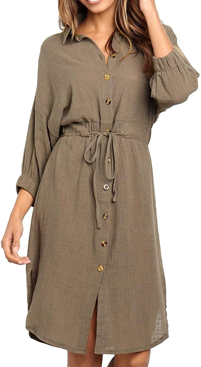 R Vivimos Women S Summer 3 4 Sleeve Linen Button Down Casual Knee Length Dress With Ti Knee Length Dresses Casual Summer Dresses With Sleeves Knee Length Dress [ 1234 x 679 Pixel ]