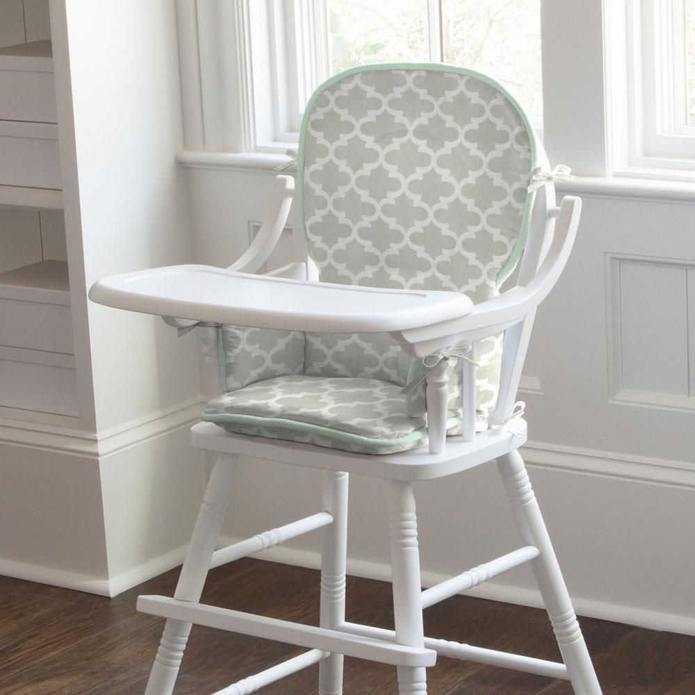 French Gray And Mint Quatrefoil High Chair Pad