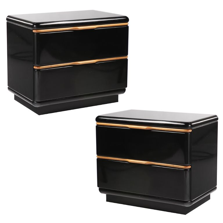 Pair Of Black Lacquered Nightstands With Maple Trim Vintage