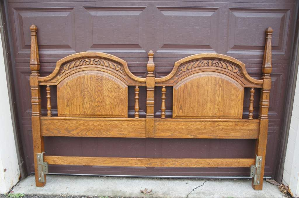 Sumter cabinet co 1970s distressed oak king size headboard for Arts and crafts headboard