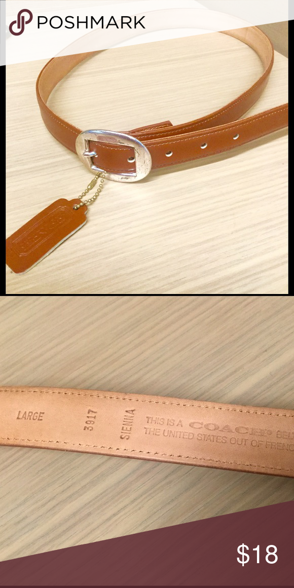 Coach belt with silver buckle in sienna, size lg Coach belt Coach Accessories Belts