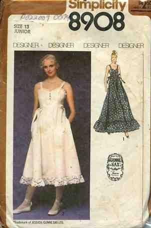 Gunny Sax Patterns 70 S Simplicity 8908 Designer Gunne Dress Gown Size 13 B 35