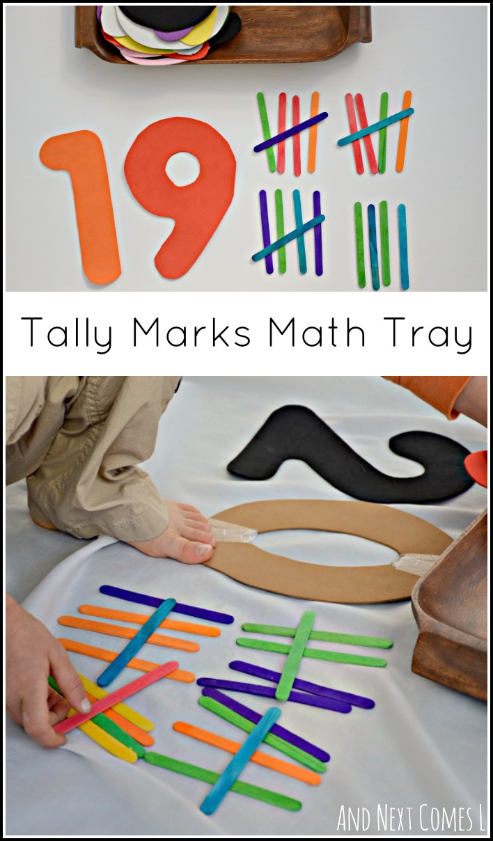 Tally Marks Math Tray is part of Simple math, Learning math, Montessori math, Homeschool math, Kinder math, Math - Simple elementary math tray to practice skip counting by fives and learn about tally marks  Includes a picture book suggestion for learning more about tally marks