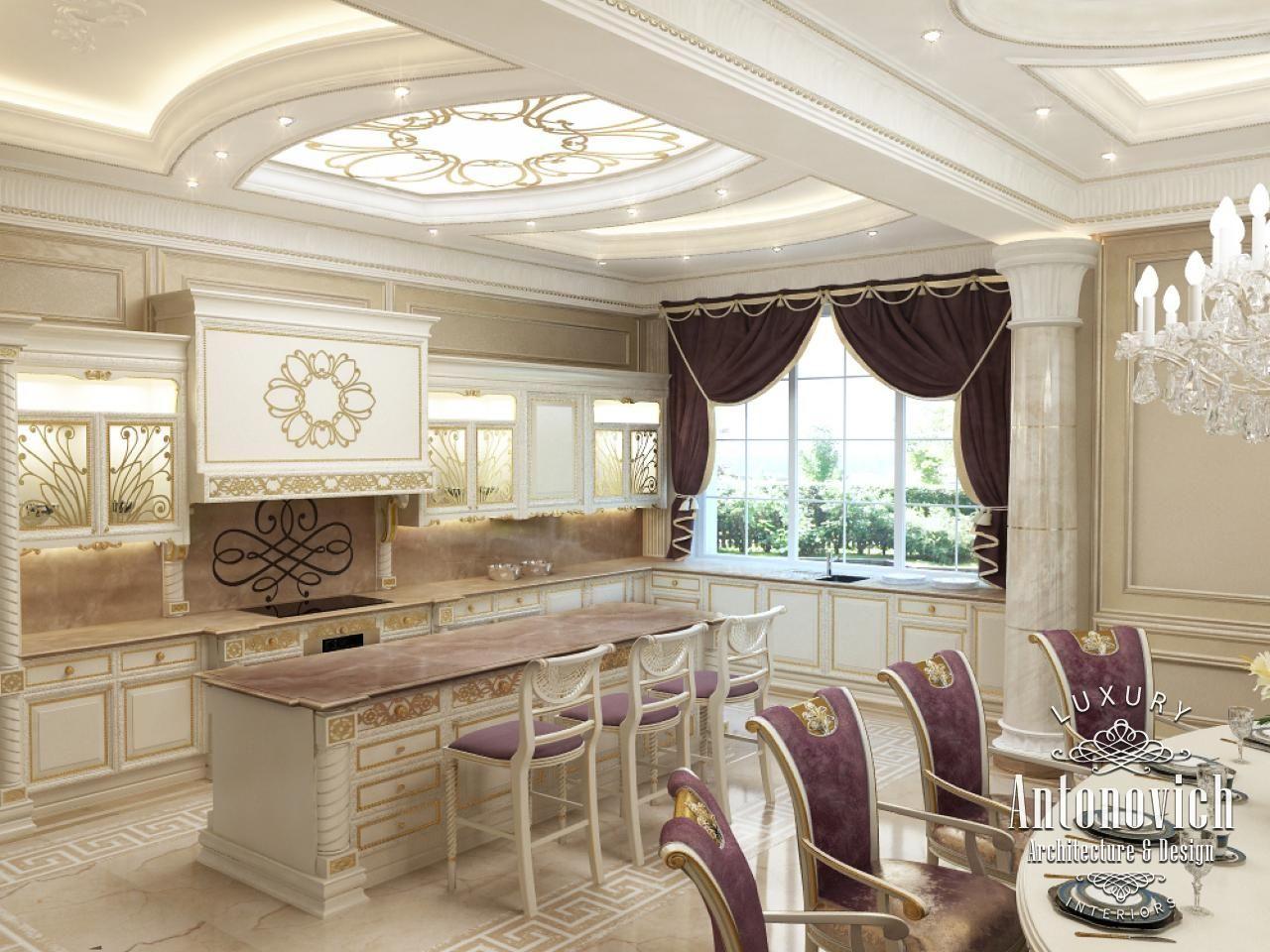Kitchen Design in Dubai, Kitchen Interior in Neoclassical, Photo 1 | Chandelier in living room