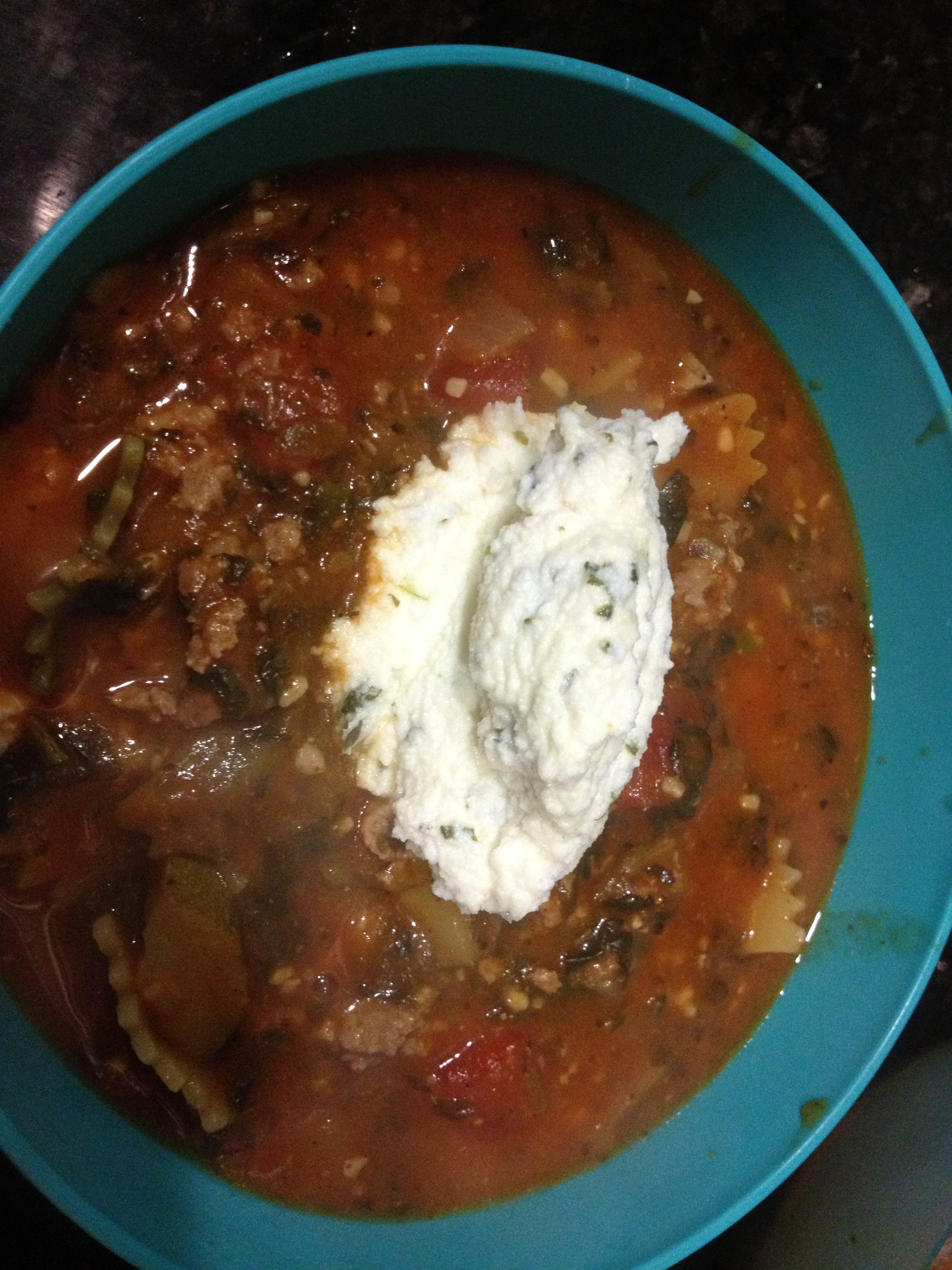 Amazing lasagna soup!  Great for bariatric diets and soup lovers alike!