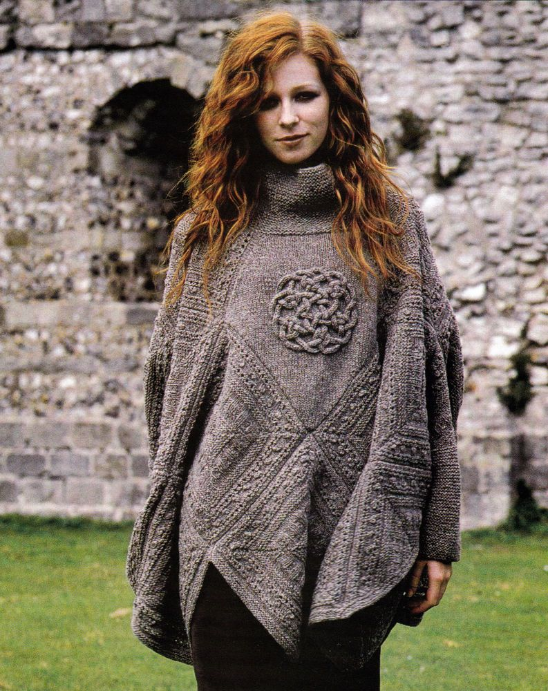 KNITTING PATTERN 9104 LADY\'S PONCHO with Sleeves & Celtic Knot iCord ...